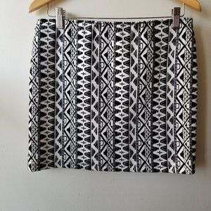 Black and White Pattern Mini Skirt with Zip Close